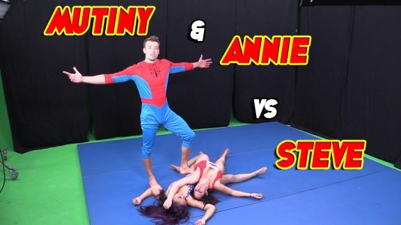 Mutiny & Annie Cruz vs. Steve - Mixed Wrestling!